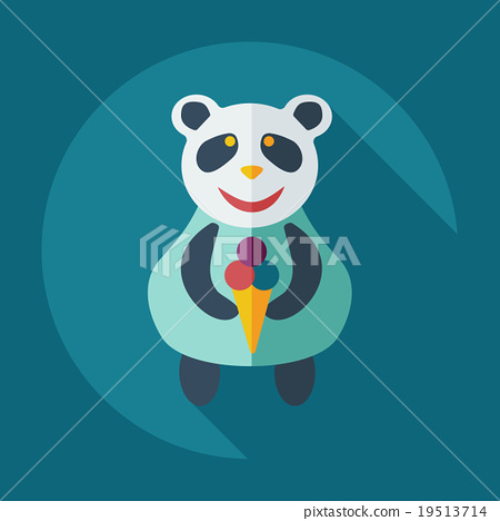 Flat modern design with shadow icons panda eating 19513714