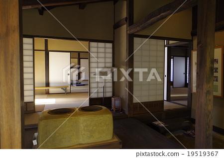 松本市重要文化財產高橋住宅住宅內部廚房起居室江戶時代的松本土莊建築 19519367