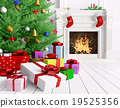 Christmas tree, gifts, fireplace in a room 3d  19525356