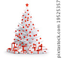 White christmas tree with gifts isolated 3d render 19525357