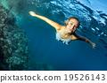 Blonde beautiful Mermaid diver underwater 19526143