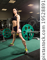 Brunette strong fitness sexy woman doing barbell 19528891