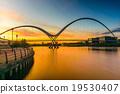 Infinity Bridge at sunset In Stockton-on-Tees, UK 19530407