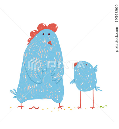 Hen and chicken childish cartoon 19548900