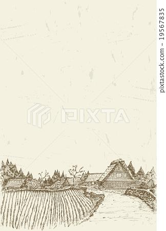 Sketch of world heritage village Shirakawa-go in J 19567835