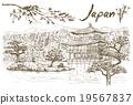 Hand drawn Golden Pavilion Temple, Japan 19567837