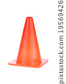 orange cone used warning sign under construction 19569426