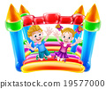 Kids Jumping on Bouncy Castle 19577000