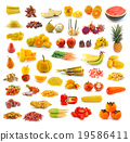 Fruits, vegetables, yellow and red. 19586411