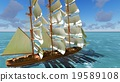 Pirate brigantine at sea 19589108
