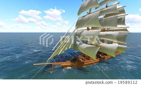 Pirate brigantine at sea 19589112