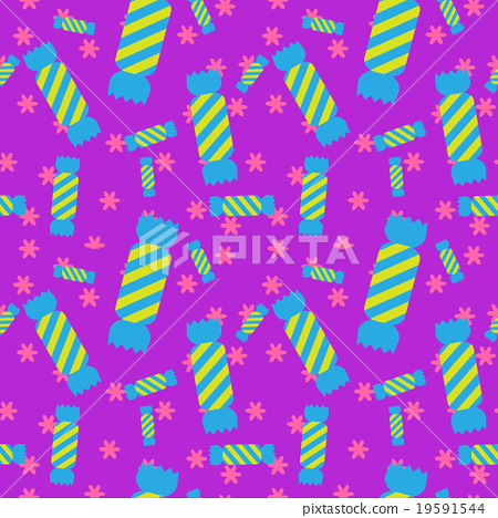 Stock Illustration: Sweet candy seamless pattern. Colorful wrap paper.