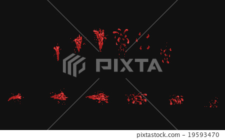 Pixel art vector blood splatter animation  - Stock Illustration
