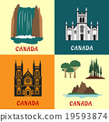 Canadian travel landmarks flat icons 19593874