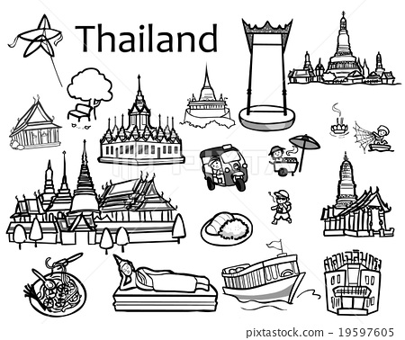 Thailand attractions icon and vector 19597605