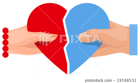 Female and male hand holding heart symbol of love 19598532