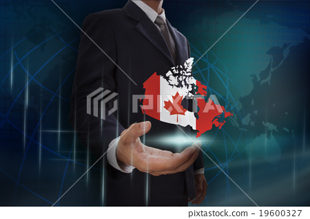 Businessman showing map of Canada  19600327