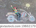Little child in helmet with motorcycle picture 19602170