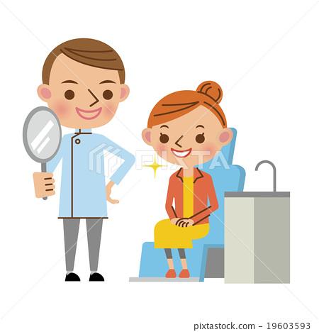 治療後向病人展示鏡子的牙醫(年輕女子) 19603593