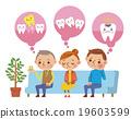 三名患者在牙科診室的候診室等待焦慮的表情(帶氣球) 19603599