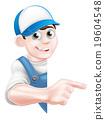 Pointing cartoon tradesman 19604548