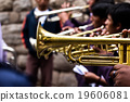 Trombones playing in a big band. 19606081