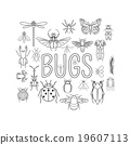 Insects icon flat style. 24 pieces in set. 19607113