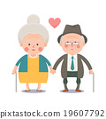 Happy Old Couple Holding Hands 19607792