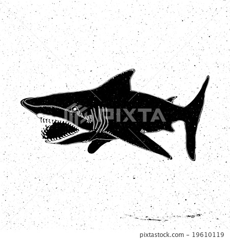 Hand-drawn hand a large shark with an open mouth  19610119