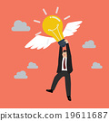 Businessman hold flying lightbulb 19611687