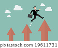 Businessman jumping up to a higher arrow 19611731