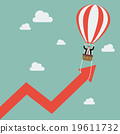 Businessman on balloon pull arrow graph up 19611732