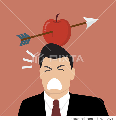 Businessman with apple and arrow on his head 19611734