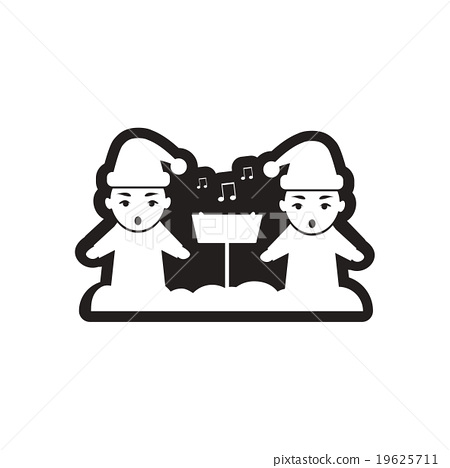 Flat icon in black and white children sing carols 19625711