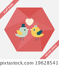 Valentine's Day lover bird flat icon with long shadow,eps10 19628541