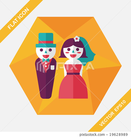 wedding couple flat icon with long shadow,eps10 19628989