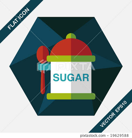 kitchenware sugar flat icon with long shadow,eps10 19629588