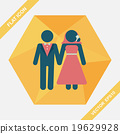 wedding couple flat icon with long shadow,eps10 19629928