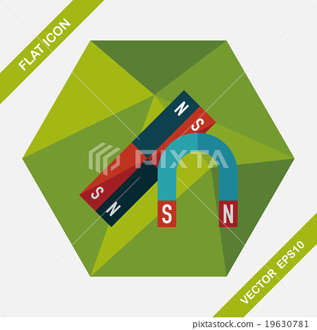 Magnet flat icon with long shadow,eps10 19630781