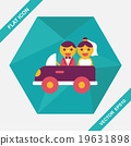 wedding car flat icon with long shadow, eps10 19631898