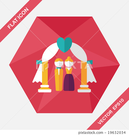 wedding ceremony flat icon with long shadow,eps10 19632034