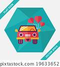 wedding car flat icon with long shadow, eps10 19633652