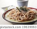 麵條 和食 冷蕎麥麵裝在盤 19639063