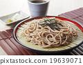 麵條 和食 冷蕎麥麵裝在盤 19639071