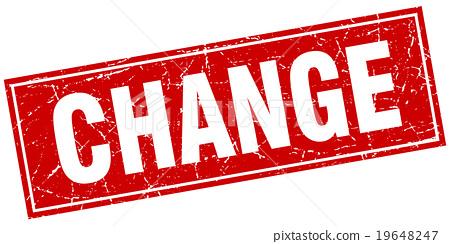 change red square grunge stamp on white