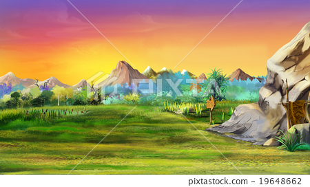 Stone cave  with mountains in the background. 19648662