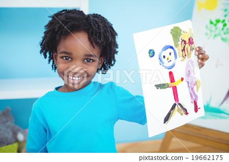 Stock Photo: Happy kid enjoying arts and crafts painting