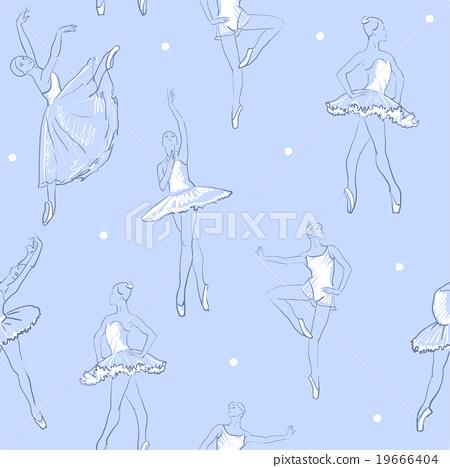 vector sketch of girls ballerina seamless pattern 19666404