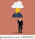 Businessman with umbrella protect from thunder 19680021