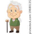 一個逗人喜愛的人的例證有一個興高采烈的祖父的,資深,老人可笑| Masayoshi Iwata 19680135